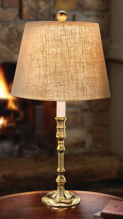 9147: York Brass Lamp with Linen Shade (Product Detail)