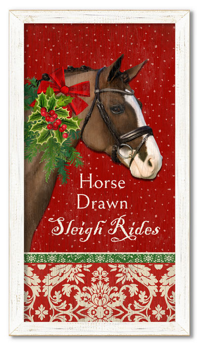 """9091: """"Sleigh Rides"""" Wall Art - Brown Horse (Product Detail)"""