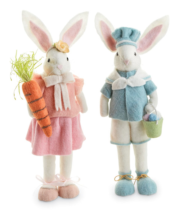 9222: Wool and Felt Standing Bunnies (Set of Two) (Product Detail)