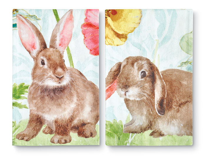 9226: Bunny Floral Towels (Set of Two) (Product Detail)