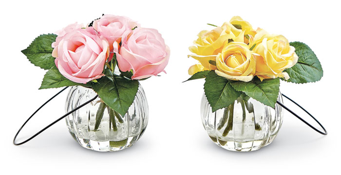 9308: Pink and Yellow Roses in Glass Vases (Set of Two) (Product Detail)