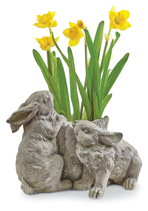 9311: Bunnies with Tree Trunk Planter (Product Detail)