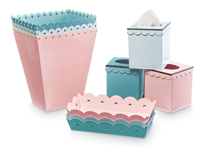 9314: Scalloped Enamel Vanity Tray and Tissue Box Holder (Set of Two) (Product Detail)