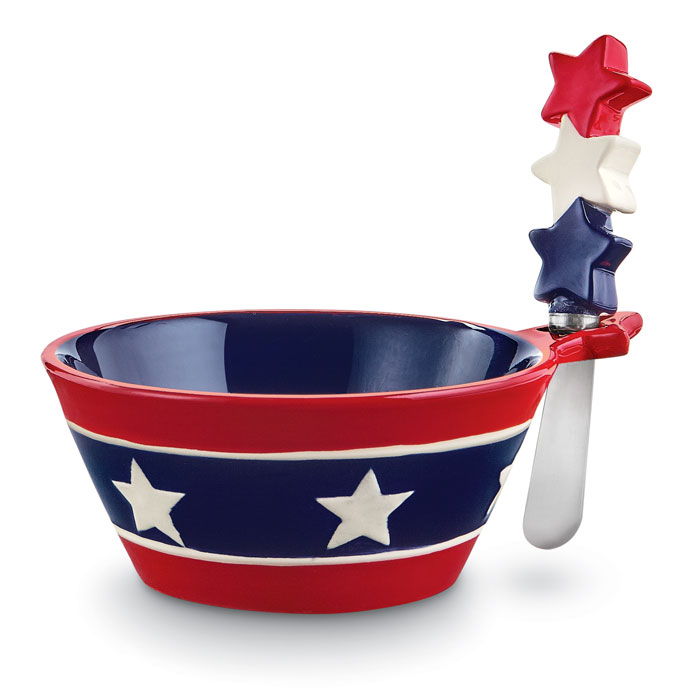 9292: Stars and Stripes Dipping Bowl with Spreader (Product Detail)
