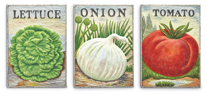 9260: Vegetable Seed Packet Wall Art (Set of Three) (Product Detail)