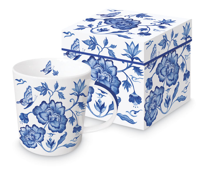 9375: Blue and White Floral Mug (Product Detail)