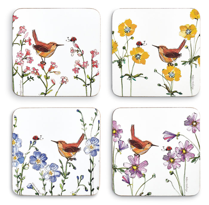 9745: Wren and Flowers Coasters (Set of Four) (Product Detail)