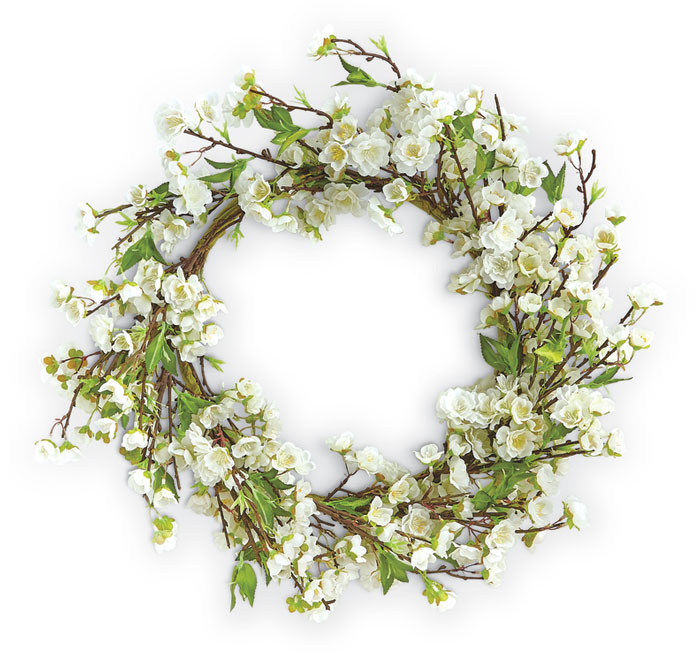 9399: White Cherry Blossom Wreath (Product Detail)