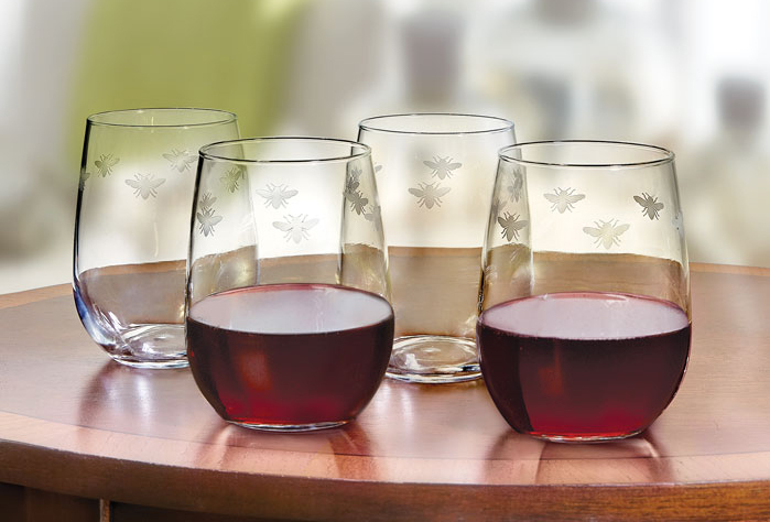 2794: Bee Stemless Wine Glasses (Set of Four) (Product Detail)