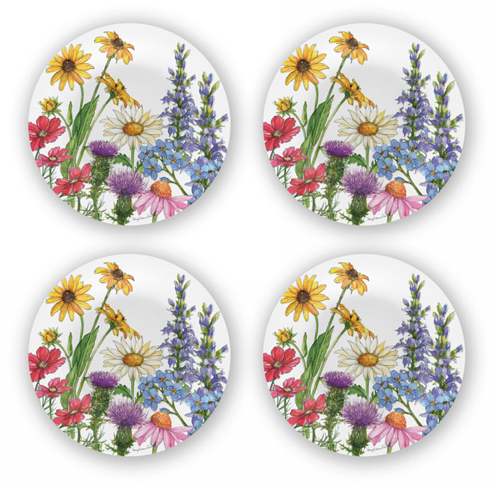 1307: Wildflowers Bamboo Dinner Plates [Set of Four] (Product Detail)
