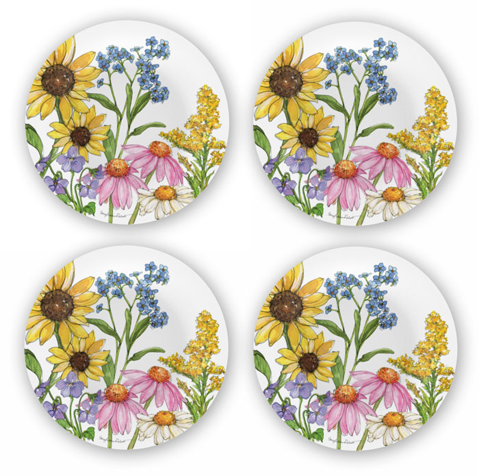 1308: Wildflowers Bamboo Salad Plates [Set of Four] (Product Detail)