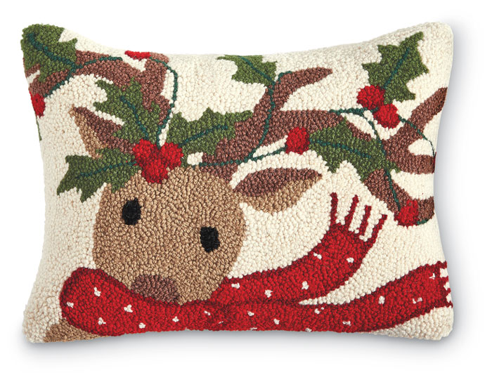 1345: Reindeer with Scarf Pillow (Product Detail)