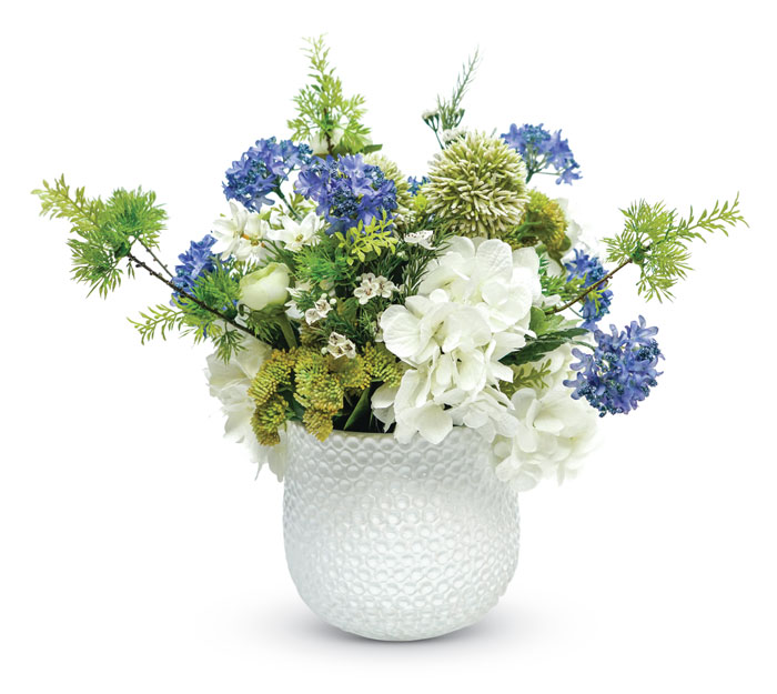 1085: Blue and White Spring Florals in White Vase (Product Detail)
