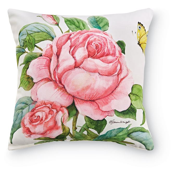 1954: Roses and Butterfly Pillow I (Product Detail)
