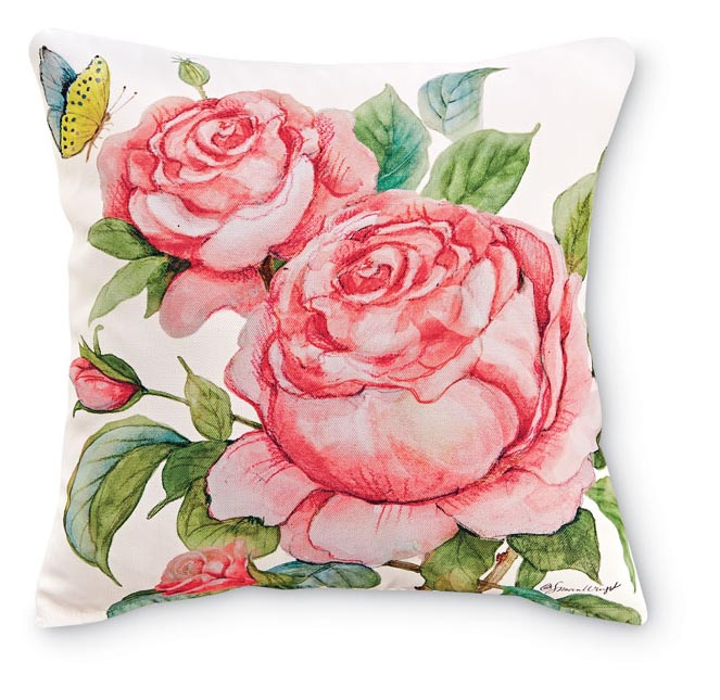1955: Roses and Butterfly Pillow II (Product Detail)