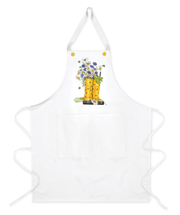 3715: Bees Boots Apron with Daisies (Product Detail)