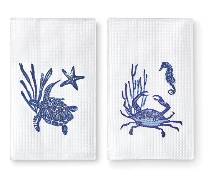 9673: Blue Crab and Turtle Towels (Set of Two) (Product Detail)