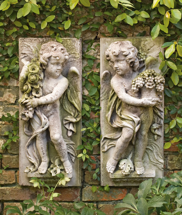 1724: Four Seasons - Spring Boy Plaque (left) (Product Detail)
