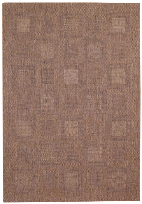 9666: Cocoa Brown Blocks Outdoor Rug 3
