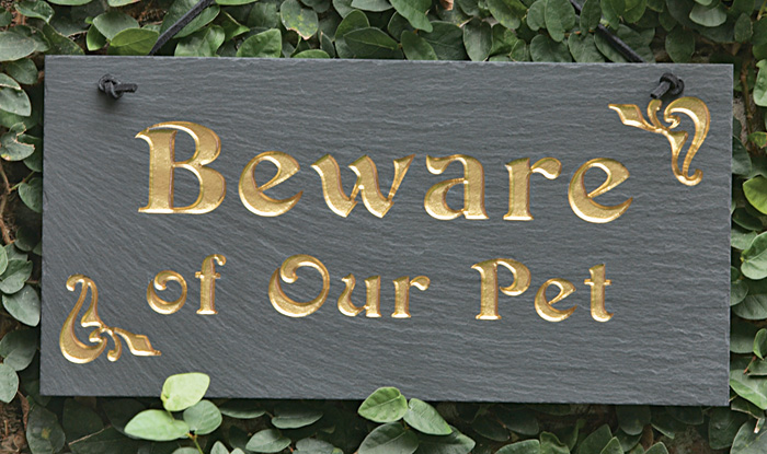 "1726: ""Beware of Our Pet"" Sign (Product Detail)"
