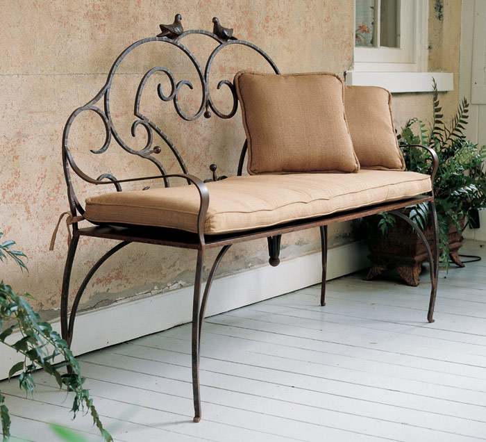 2091: Scrolled Iron Bench with Birds (Product Detail)
