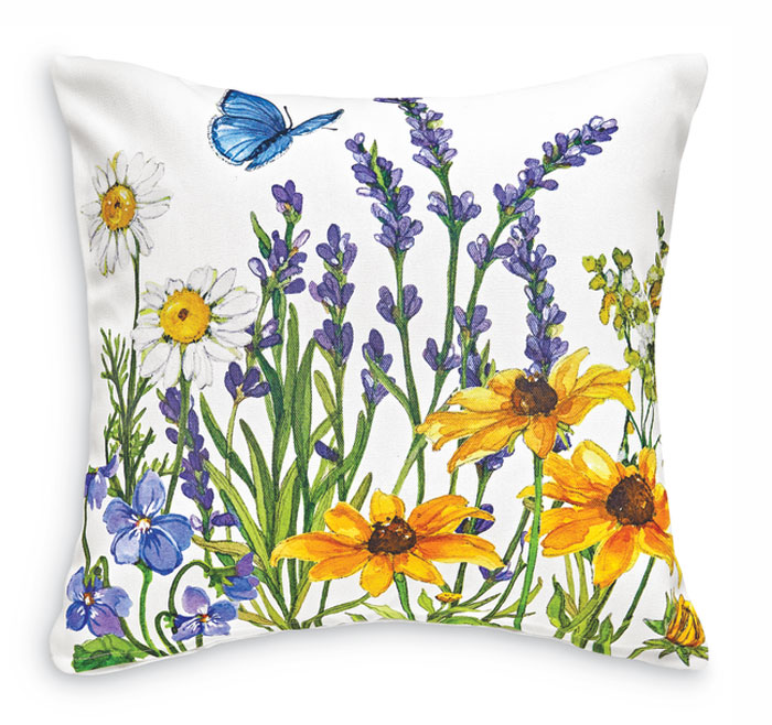 2155: Wildflowers and Butterflies Pillow I - White (Product Detail)