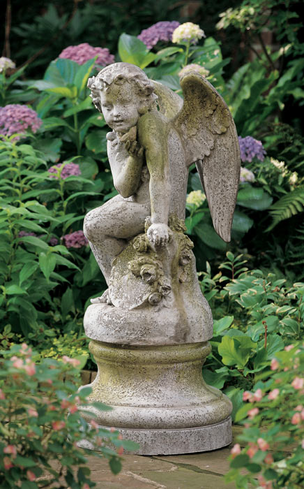 2317: Cherub with Bird Statue (Product Detail)