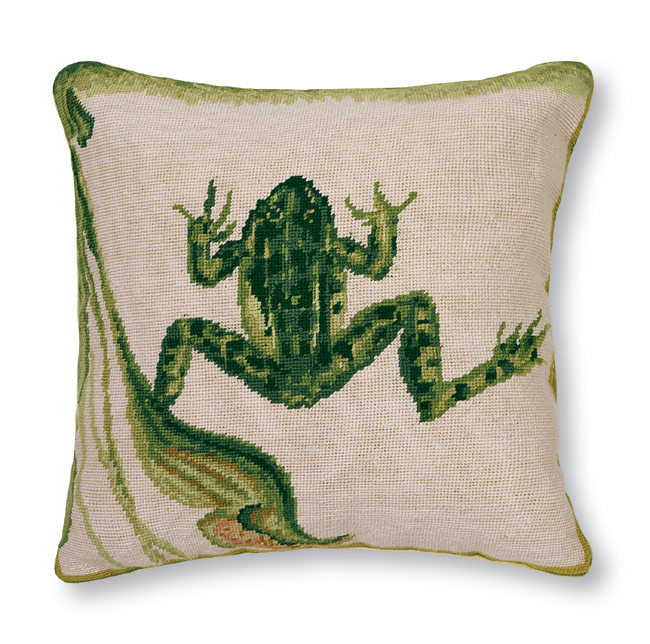 3499: Frog (Water)  Needlepoint Pillow (Product Detail)