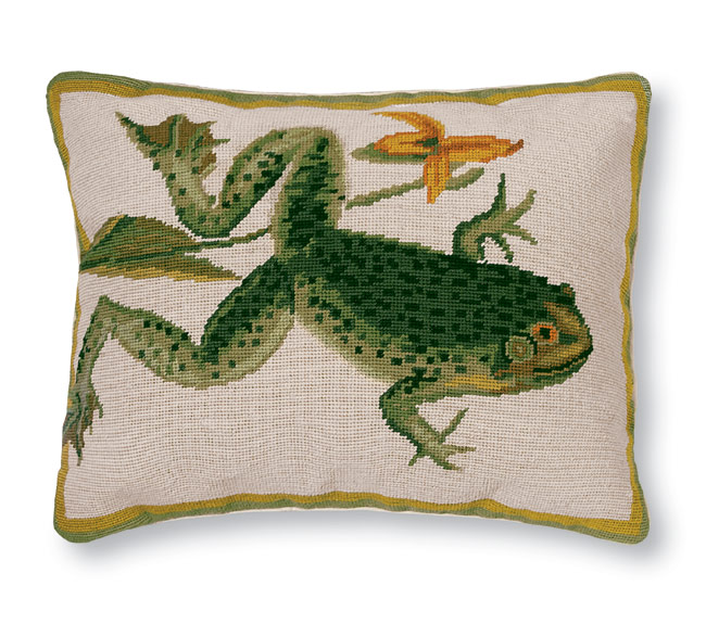 3498: Frog (Bull) Needlepoint Pillow (Product Detail)