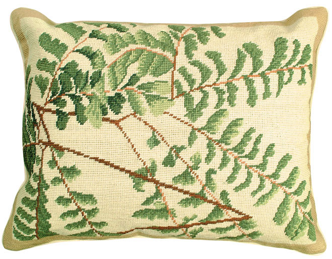 4867: Fern Spray Needlepoint Pillow (Product Detail)