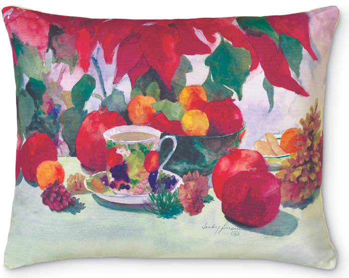 4997: Pomegranate and Poinsettia Pillow (Product Detail)