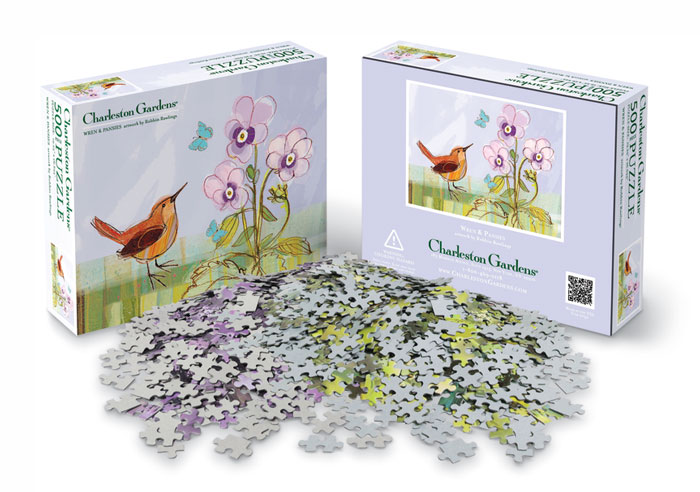 7030: Wren and Pansies Puzzle (Product Detail)