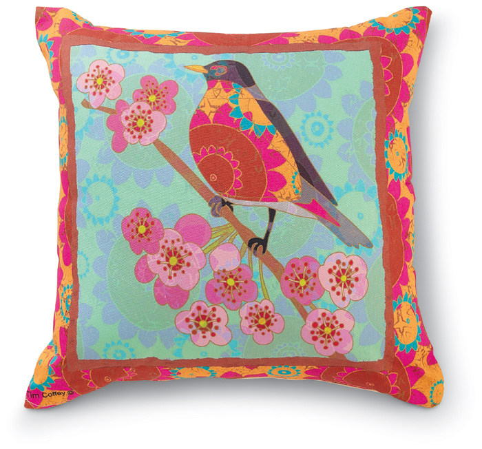 8097: Bird on Turquoise Pillow (Product Detail)