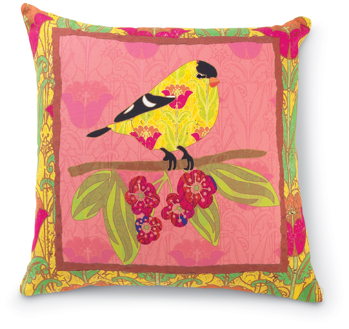 8098: Bird on Deep Pink Pillow (Product Detail)