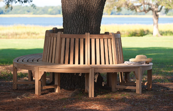 7089: Curved Quarter Tree Bench/Teak (one section) (Product Detail)