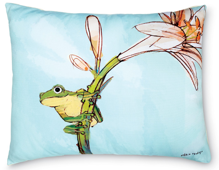1395: Frog with Lily Pillow (Product Detail)