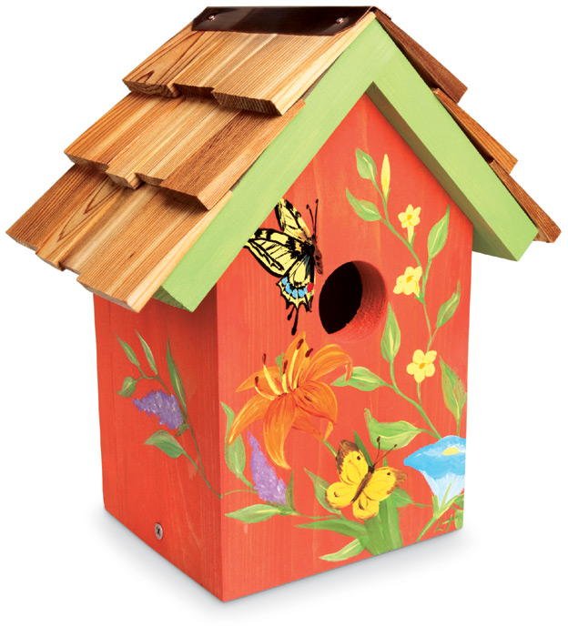 1356: Hand-Painted Butterfly Birdhouse (Product Detail)