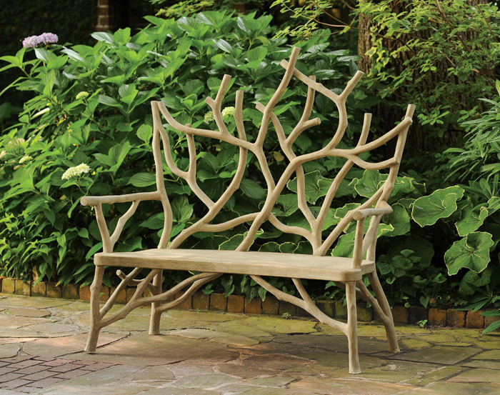 1456: Faux Bois Grand Branch Bench (Product Detail)
