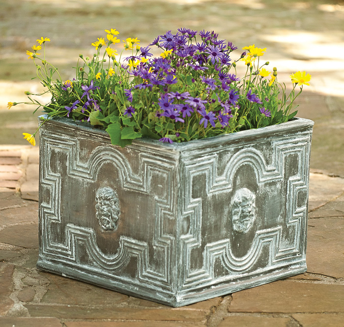 """1946: Elizabethan Planter with Antique Lead Finish - 20""""SQ. x 16.25""""H (Product Detail)"""