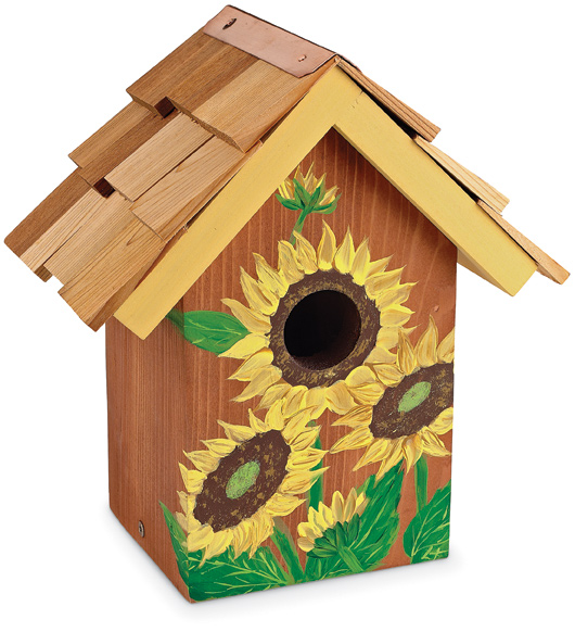 3682: Hand-Painted Sunflower Birdhouse (Product Detail)