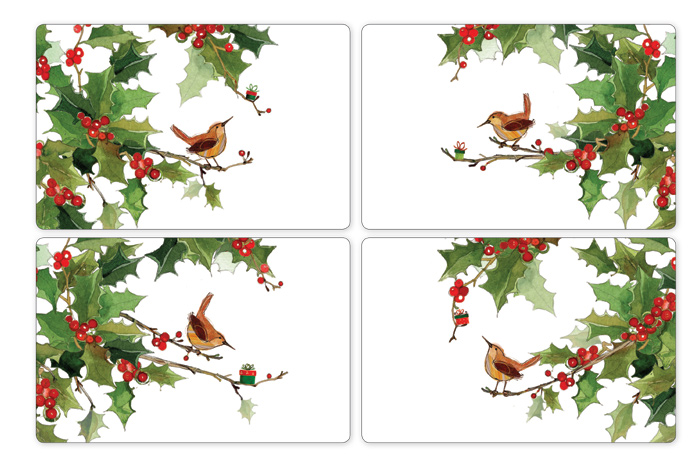 7644: Wren and Holly Dinner Placemats (Set of Four) (Product Detail)