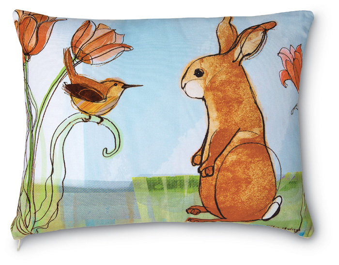 3718: Wren and Standing Bunny with Tulips Pillow (Product Detail)