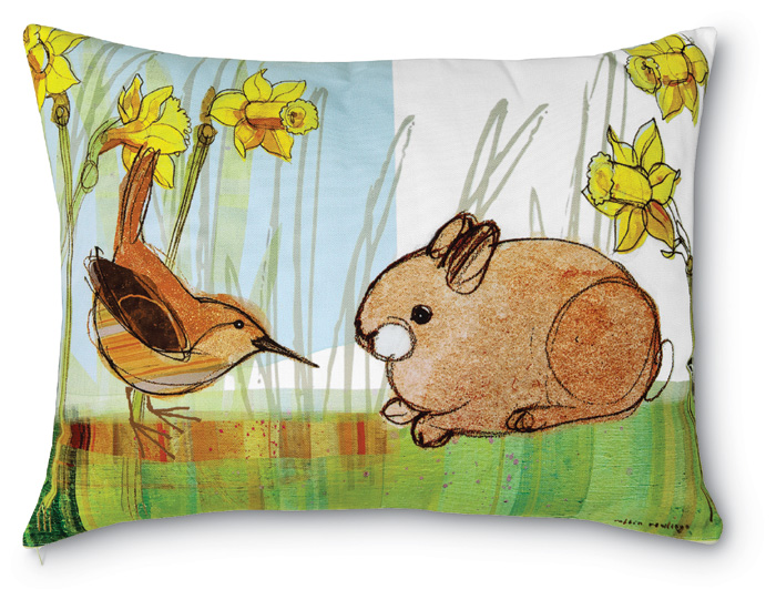 3730: Wren and Baby Bunny with Daffodils Pillow (Product Detail)