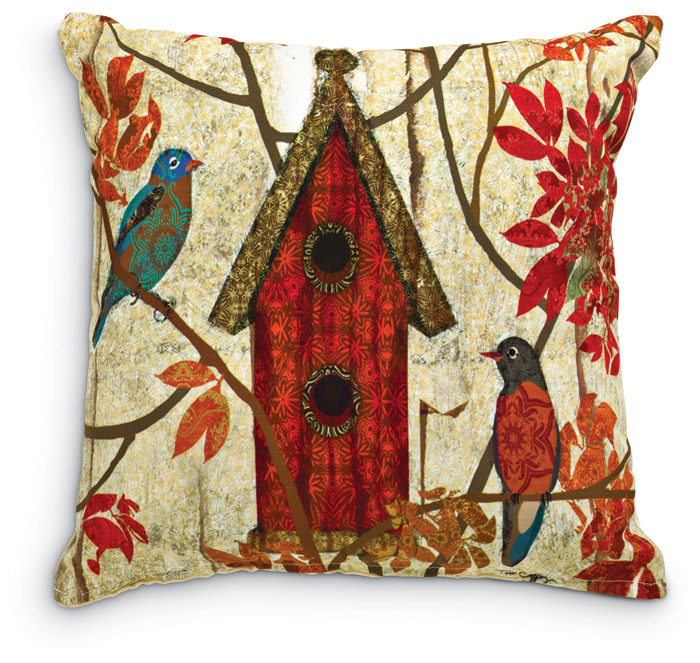 1955: Prism Garden Pillow - Red Birdhouse (Product Detail)