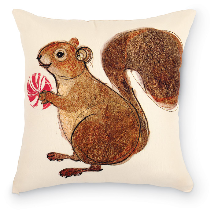 1950: Squirrel with Peppermint Pillow (Product Detail)