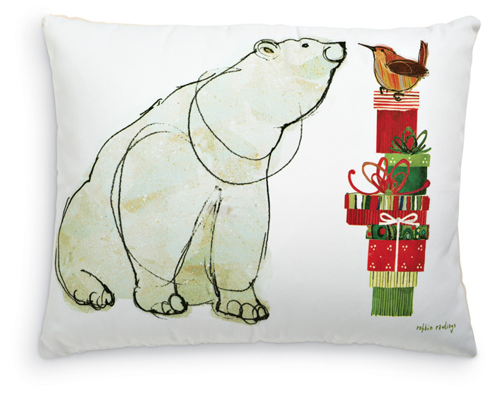 1953: Polar Bear with Gifts Pillow (Product Detail)