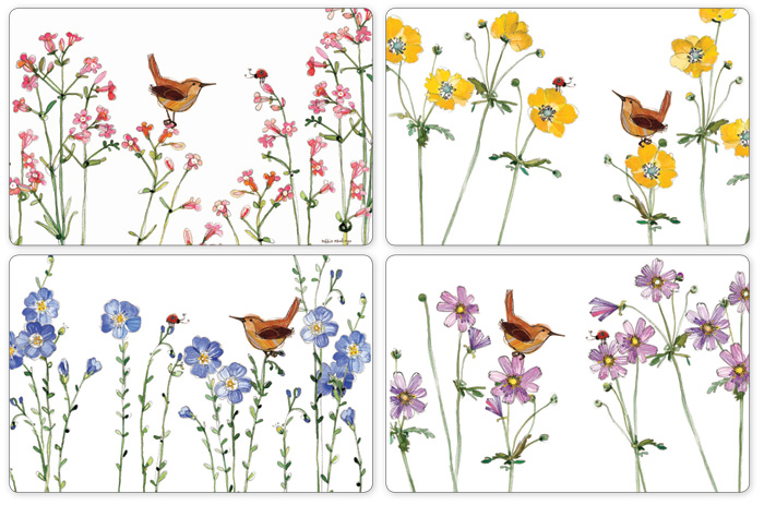 7944: Wren and Flowers Placemats (Set of Four) (Product Detail)