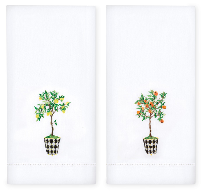 3855: Orange and Lemon Topiary Towels (Set of Two) (Product Detail)