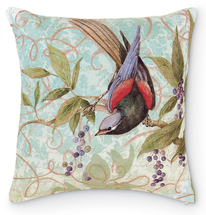 4454: Bird on Branch with Berries Pillow  (Product Detail)