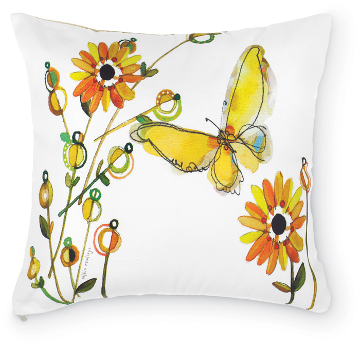 5440: Butterfly with Flowers Pillow (Product Detail)